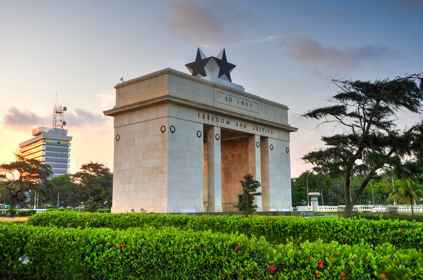 "The Independence Arch of Independence Square of Accra, Ghana at sunset. Inscribed with the words ""Freedom and Justice, AD 1957"", commemorates the independence of Ghana, a first for Sub Saharan Africa."